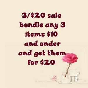 All items $10 or less 3 for $20